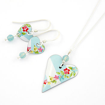 Heart And Crystals Necklace And Earring Set