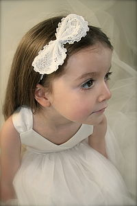 Emma Lace Bow Flower Girl Hairband - children's clothing