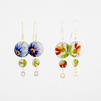 Vintage Style Floral Two Disc Earrings