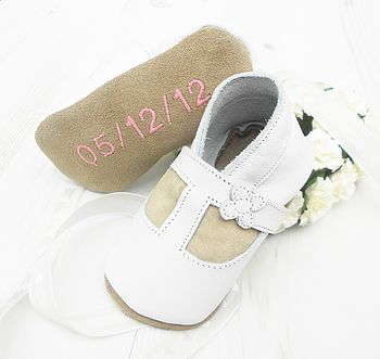 Personalised Flower Christening Shoes