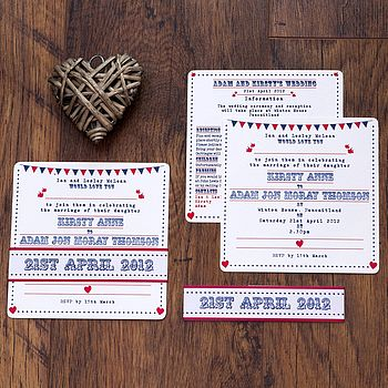 Bunting And Birds Wedding Invitation
