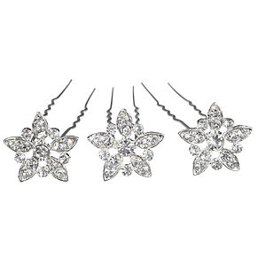 Set Of Three Fleur Crystal Wedding Hair Pins - hats & hair accessories
