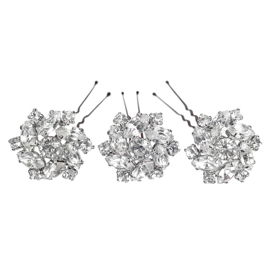 set of divinity wedding hair pins by chez bec | notonthehighstreet
