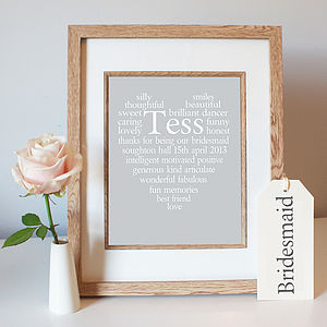 Personalised Bridesmaid Thank You Heart Print - wedding thank you gifts