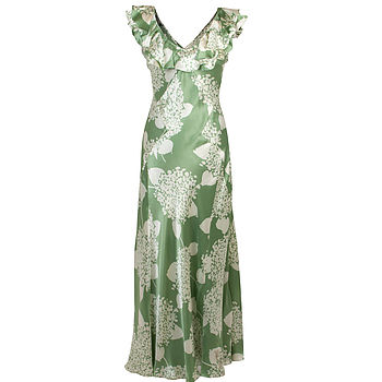 Hydrangea Print Silk Satin Cristobel Dress