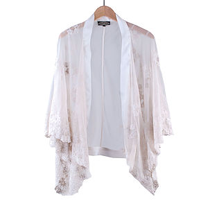 Ivory Embroidered Lace Shrug - women's fashion