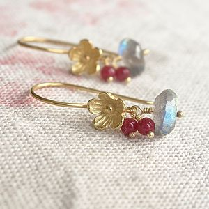A Pair Of Blossom And Labradorite Earrings - earrings