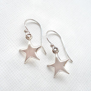 Sterling Silver Satin Brushed Star Earrings - children's jewellery