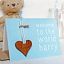 Personalised New Baby Keepsake Card Blue