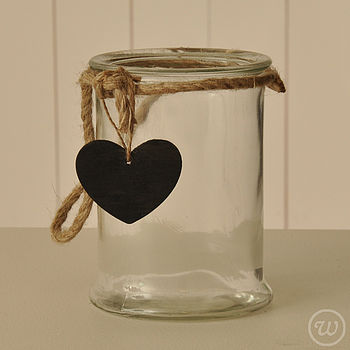 Glass Jar With String And Heart Tag