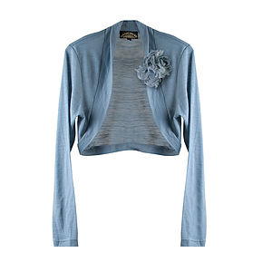 Shrug In Blue Pearl Fine Knit - women's fashion