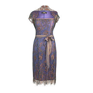 Lace Occasion Dress With Forties Neckline In Bronze - luxury fashion