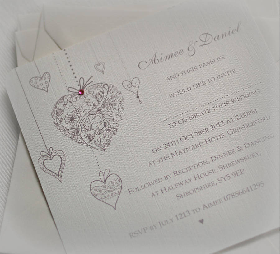 not on the high street winter wedding invitations%0A  u    Hearts Personalised u     Wedding Invitations