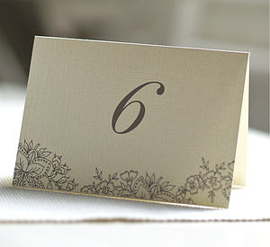 Folded Double Sided Table Number Cards - wedding stationery