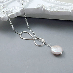 Infinity And Coin Pearl Lariat Necklace