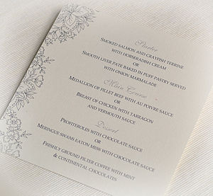 Floral Wedding And Party Menu Cards