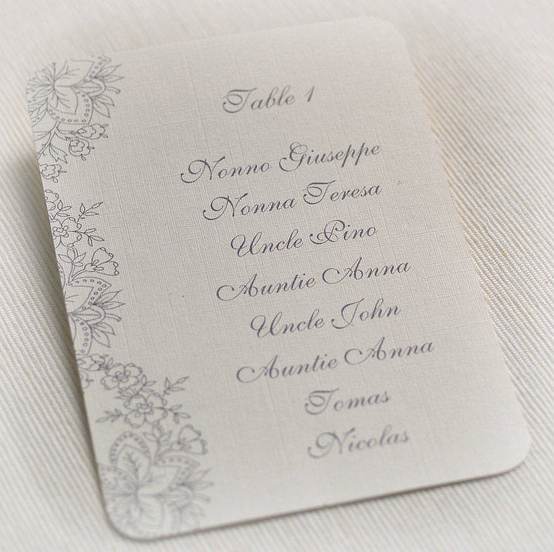 Fl Lace Design Wedding Table Plan Cards