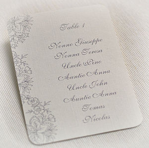 Floral Lace Design Wedding Table Plan Cards
