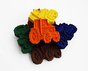 Set Of Six Tractor Crayons - children's parties