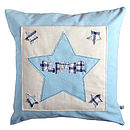 personalised boys cushion front, blue with star