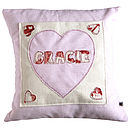 personalised girls pocket cushion with heart