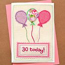 Embroidered Balloons Girls Birthday Card