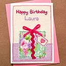 Embroidered Present Girls Birthday Card