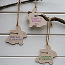 Personalised New Baby Bunny Tag Decoration