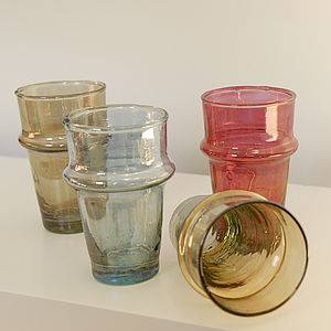 Four Handblown Recycled Beldi Tinted Glasses - drink & barware