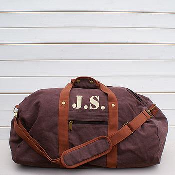 Personalised Vintage Brown Canvas Holdall Bag