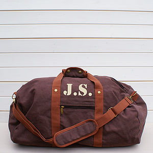 Personalised Vintage Brown Canvas Holdall Bag - holdalls & weekend bags