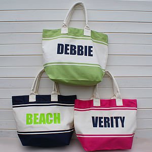 Personalised Colourful Beach Shopper Bag