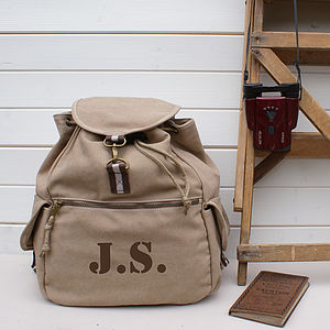 Personalised Canvas Backpack - gifts for him