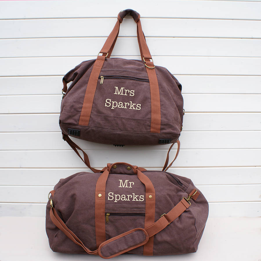 personalised canvas his and her bags by sparks clothing ...