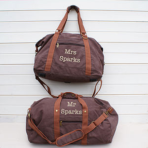 Personalised Canvas His And Her Bags - men's accessories