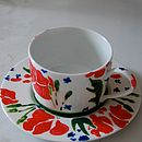 Pair Of 30s Flower Coffee Cup And Saucers