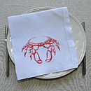 Crab Linen Table Napkin Orange 50x50cm