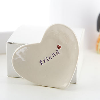 Gift For 'Friend' Ceramic Ring Dish