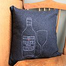 Personalised Embroidered Wine Bottle Cushion