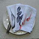 Mussel Prawn and Swordfish Napkins Cotton 50x50cm