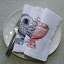 Shell Bowl and Octopus Linen Table Napkins