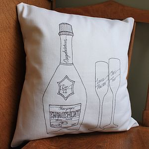 Personalised Engagement Champagne Cushion - cushions