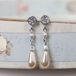 Rhinestone And Pearl Drop Stud Earrings - earrings