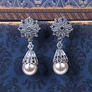Art Deco Pearl And Marcasite Drop Earrings