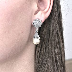 Art Deco Pearl And Marcasite Drop Earrings - earrings