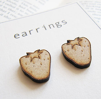 Strawberry Engraved Wooden Earrings