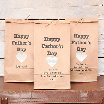 Personalised Fathers Day Heart Gift Bag