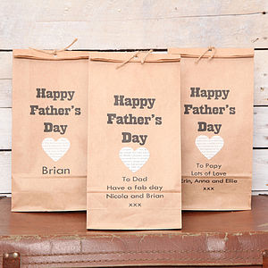 Personalised Fathers Day Heart Gift Bag - ribbon & wrap