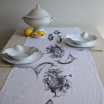 Fish Linen Table Runner Black