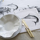 Black Fish Linen Table Runner and Swordfish Napkin